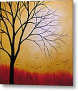 Abstract Original Tree Painting Summers Anticipation By Amy Giacomelli Metal Print
