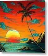 Abstract Surreal Tropical Coastal Art Original Painting Tropical Burn By Madart Metal Print