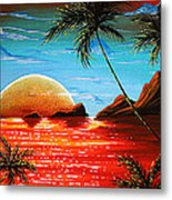 Abstract Surreal Tropical Coastal Art Original Painting Tropical Fusion By Madart Metal Print