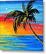 Abstract Tropical Palm Tree Painting Tropical Goodbye By Madart Metal Print