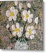 Abstract Wild Roses Heavy Impasto Metal Print