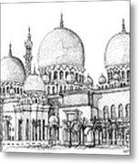 Abu Dhabi Masjid In Ink  Metal Print by Adendorff Design