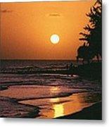 Accra Beach Sunset Metal Print