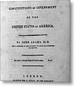 Adams: Title Page, 1787 Metal Print by Granger