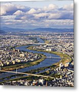 Aerial Japanese Cityscape And River Metal Print by Jeremy Woodhouse