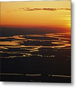 Aerial Sunset Of The Suisun Slough Metal Print