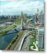 Aerial View Of Bridge Estaiada Metal Print