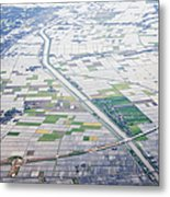 Aerial View Of Flooded Farmland Metal Print by Jeremy Woodhouse
