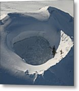 Aerial View Of Frozen Lake In Summit Metal Print by Richard Roscoe