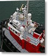 Aerial View Of Red Tug  Metal Print