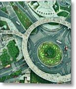 Aerial View Of Shaghai Traffic Metal Print
