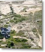 Aerial View Of Stage Harbor Light In Chatham On Cape Cod Massac Metal Print