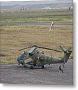 Afghan Army Soldiers Guard An Mi-35 Metal Print