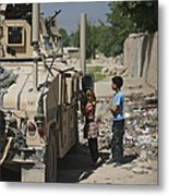 Afghan Children Ask U.s. Soldiers Metal Print