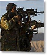 Afghan National Army Commandos Aim Metal Print