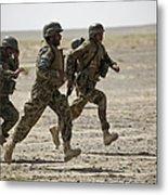 Afghan National Army Soldiers Run Metal Print