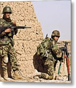 Afghan Soldiers Conduct A Dismounted Metal Print by Stocktrek Images