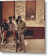 African American Teenage Street Gang Metal Print
