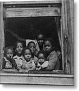 African American Woman And Six Children Metal Print