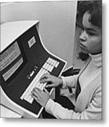 African-american Woman Computer Metal Print