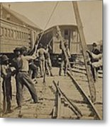 African American Work Crew In Northern Metal Print by Everett