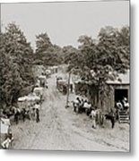 African Americans And Mule Drawn Wagons Metal Print