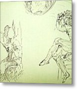 Agony And Atlas Sketch Of Him Throwing The World Onto Her As He Transforms Life Burden To Freedom Metal Print