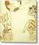 Agony And Atlas Sketch Watercolor Throwing The World As He Transforms Life From A Burden To Freedom Metal Print