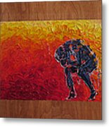 Agony Doubled Over In Flames On Wood Panel Metal Print
