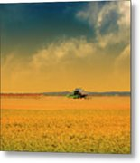 Agricultural Landscape At Sunrise Metal Print by Photo by Jim Norris