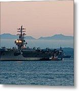 Aircraft Carrier At Sunset - Uss Ronald Reagan Metal Print