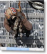 Airman Carries Chains To The Flight Metal Print