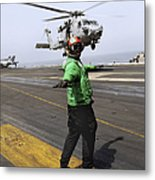 Airman Checks The Takeoff Path Metal Print