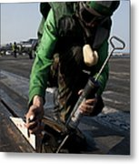 Airman Greases The Catapult Shuttle Metal Print