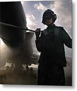Airman Holds Up The Safety Shot Line Metal Print by Stocktrek Images