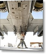 Airman Performs An Inspection Metal Print