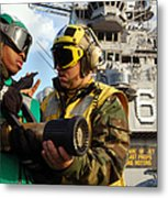 Airman Receives Proper Fire Fighting Metal Print by Stocktrek Images