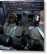 Airmen At Work In A Mc-130h Combat Metal Print