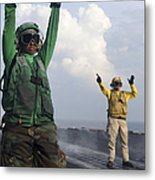 Airmen Communicate To Aircraft Aboard Metal Print