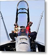 Airmen Perform A Weapons Release Check Metal Print