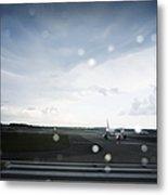 Airplane On Runway Metal Print