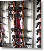 Akm Assault Rifles Lined Up On The Wall Metal Print