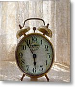 Alarm Clock On Windowsill Metal Print