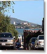 Alcatraz Island Through The Hyde Street Pier In San Francisco California . 7d13973 Metal Print by Wingsdomain Art and Photography