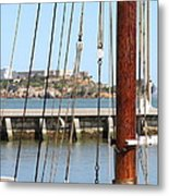 Alcatraz Island Through The Hyde Street Pier In San Francisco California . 7d14148 Metal Print