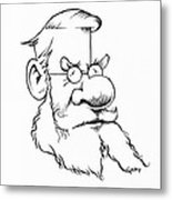 Alfred Wallace, Caricature Metal Print