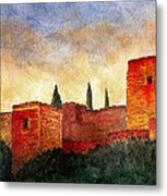 Alhambra At Sunset Metal Print by Barbara Smith