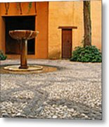 Alhambra Courtyard And Fountain In Spain Metal Print