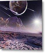 Alien Meteorite Shower, Artwork Metal Print by Detlev Van Ravenswaay