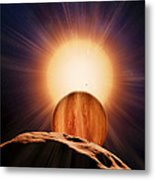 Alien Planet And Asteroid, Artwork Metal Print by Detlev Van Ravenswaay